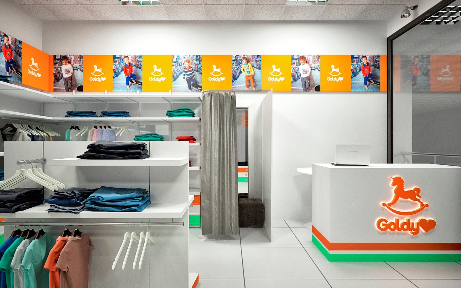 Дизайн торгового помещения детской одежды